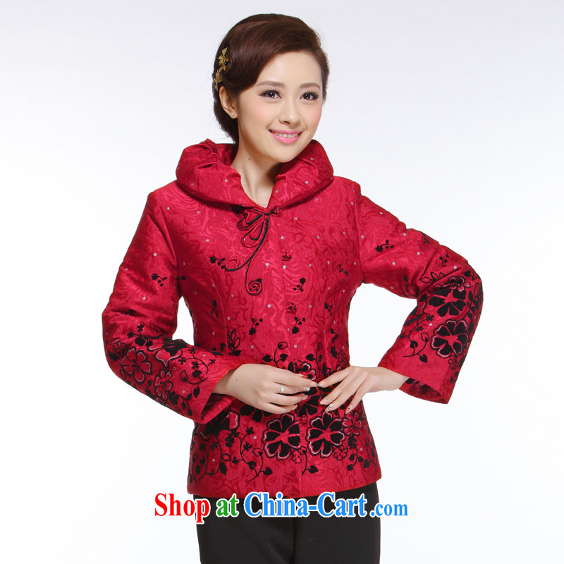 Slim li know 2015 fall and winter season new Ms. Tang is the charge-back hot, red quilted coat hair for improved T-shirt QB - 002 red XXXL