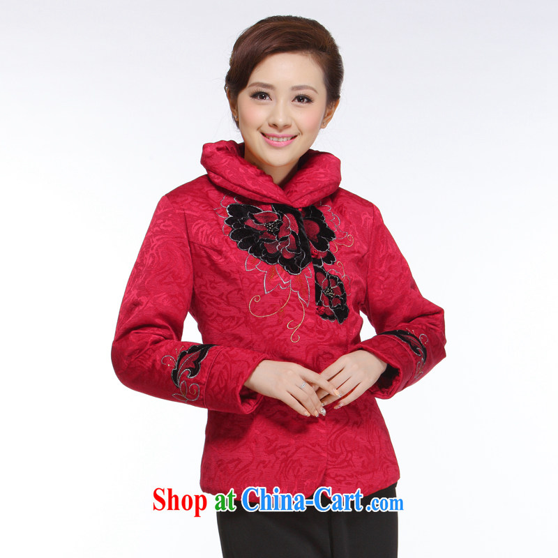 Slim li know 2015 autumn and winter new Ms. replacing retro improved stylish red bottom black velvet jacket quilted coat QB - 003 red XXXXL