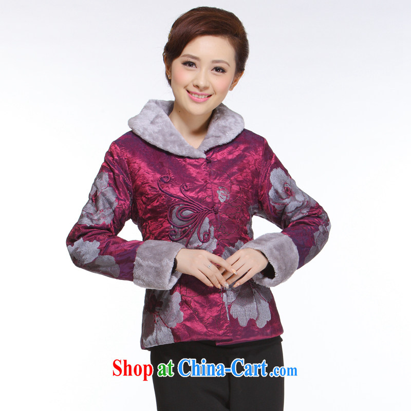Slim li know 2013 autumn and winter new Ms. replace retro improved stylish aubergine hair collar quilted coat jacket CN 3051 aubergine XXXXL