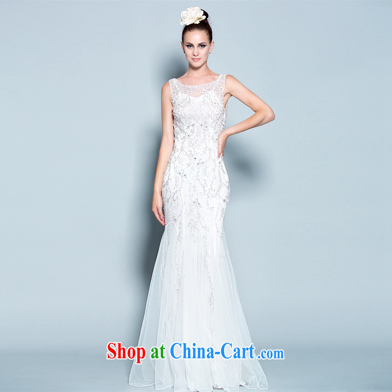 A yarn wedding dresses life 2015 new white high quality pearl diamond bridal wedding dress 30150821 white XXL code 20 days pre-sale