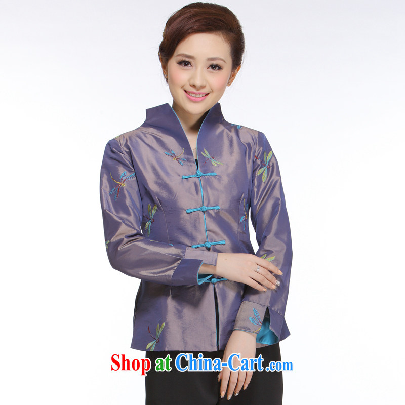 Slim li know 2014 new, Retro improved stylish and elegant purple Dragonfly Chinese T-shirt jacket QN 012 Dragonfly shirt XXXL
