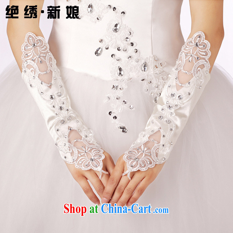There is embroidery bridal 2014 new promotions bridal gloves wedding gloves dress gloves dual-head take gloves