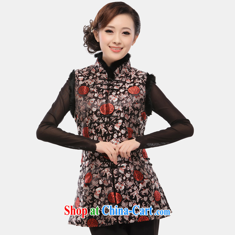 Slim li know 2015 spring loaded Tang T-shirt female Ma ?? Chinese long quilted vests and improved cheongsam Ma folder coin a coin 34 black vest XXXL