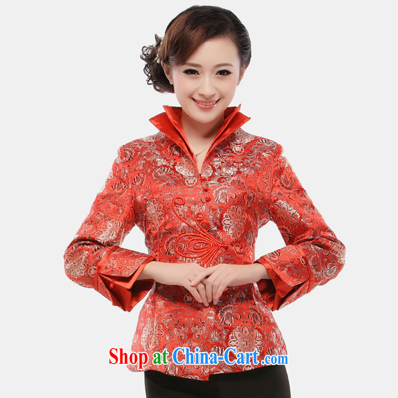 The slim li know as soon as possible brocade coverlets standard Chinese spring and autumn, the T-shirt Chinese long-sleeved dress jacket 2015 QR 54 red S