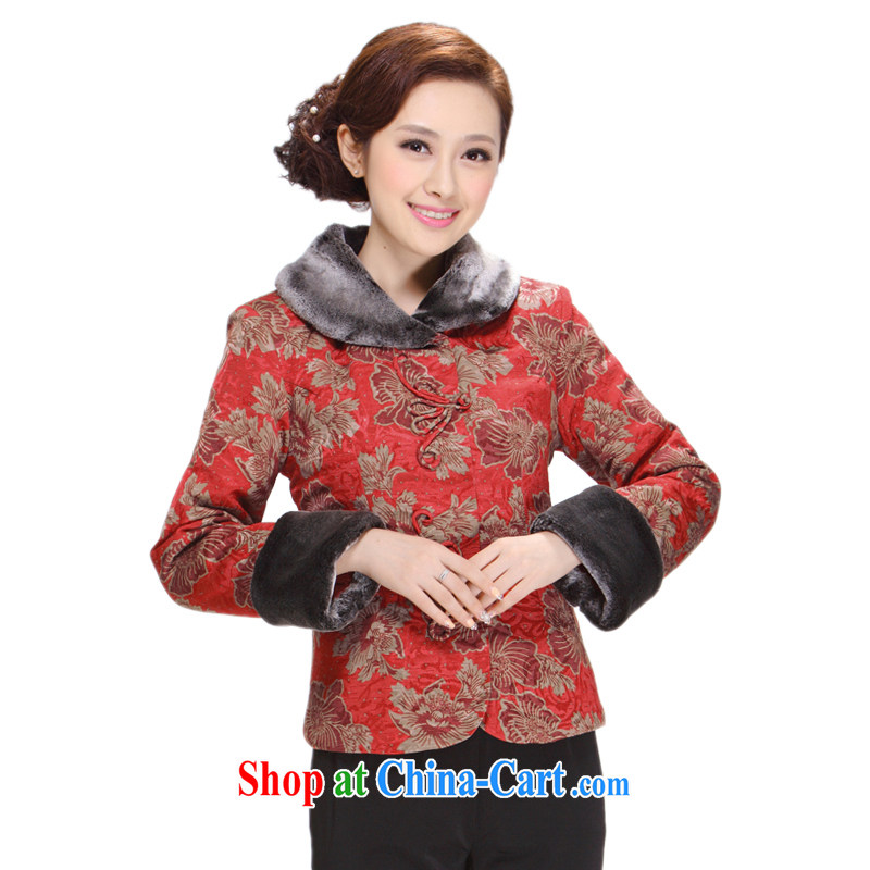Tang replace Ms. loaded winter 2013 New, Old mother beauty T-shirt jacket thick hair for Tang red 5 XL