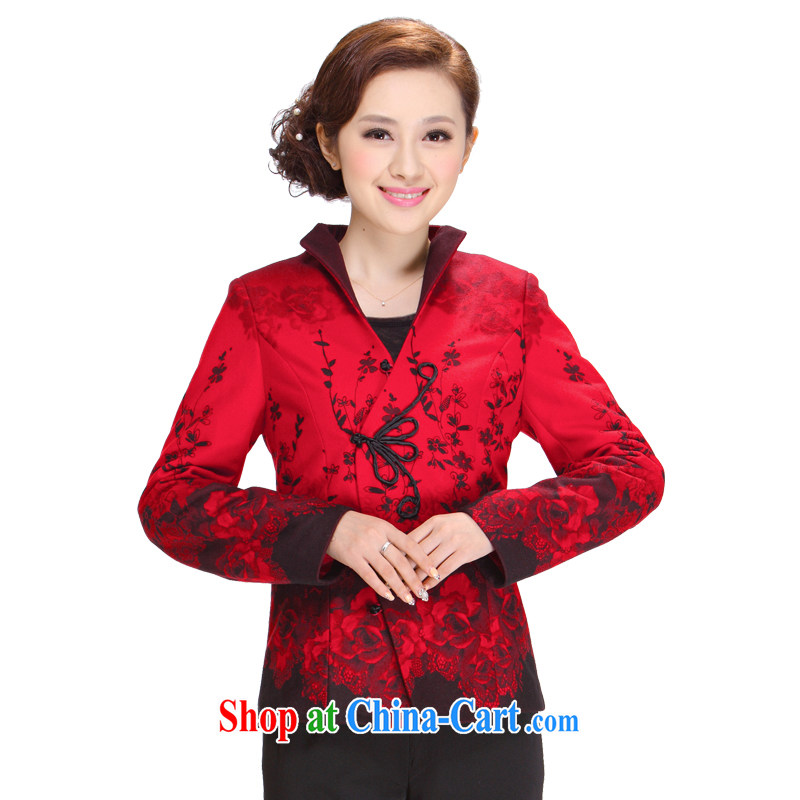 Tang Women's clothes winter clothes 2013 New, Old mother Tang fitted T-shirt jacket, Ms. Tang red 4 XL