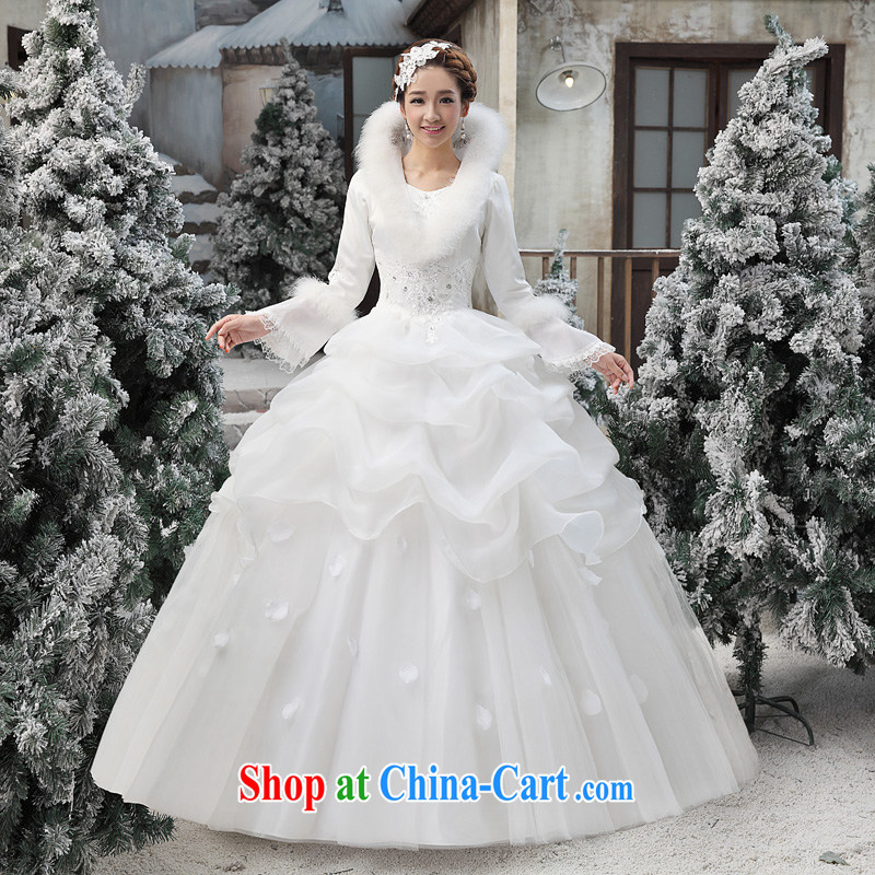 Moon ? guijin 2014 new cotton wedding dresses, For horn Princess long-sleeved one shoulder warm with wedding dresses white M code from Suzhou shipping