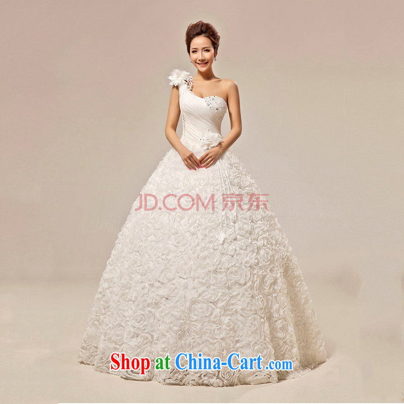 It is also optimized their wedding dresses Korean sweet Princess with bride single shoulder bare chest wedding XS 5230 white XXL