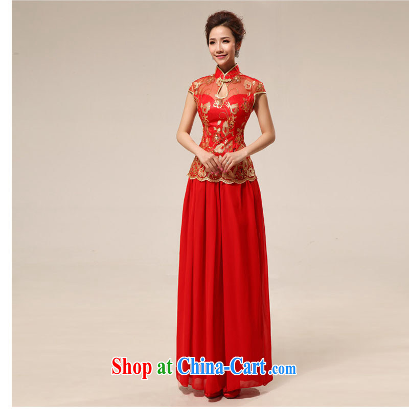 Taiwan's population bridal retro lace Long Red transparent lace sexy outfit XS 2286 red XXL