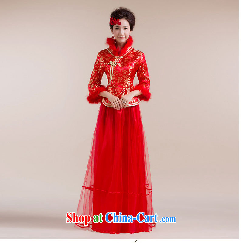 Taiwan's new leader Gross Gross cuff gauze stitching long skirt embroidery gold flowers Chinese Dress XS 2287 red L