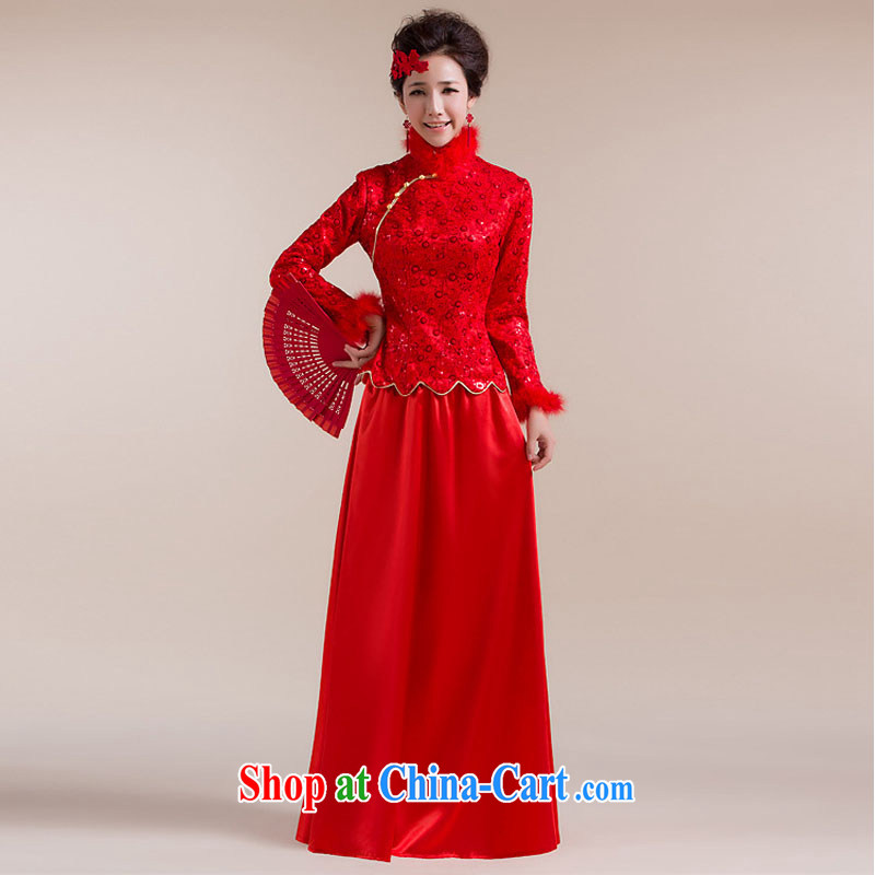 Taiwan's population for Gross Gross cuff dot decoration aliasing, with drag and drop, long skirt with short bows dress XS 2284 red XXL