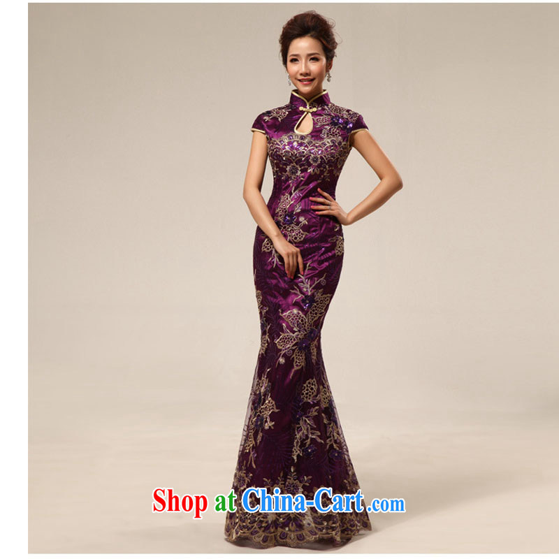 Taiwan's population retro improved courtesy cheongsam hospitality service at Merlion is withholding cheongsam dress XS 2282 purple XXL