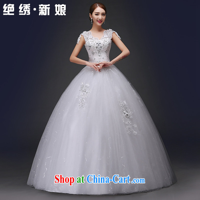 There is embroidery wedding dresses 2015 spring and summer new bride wedding dress a field package double-shoulder lace V for Korean-style with wedding dress white XXL