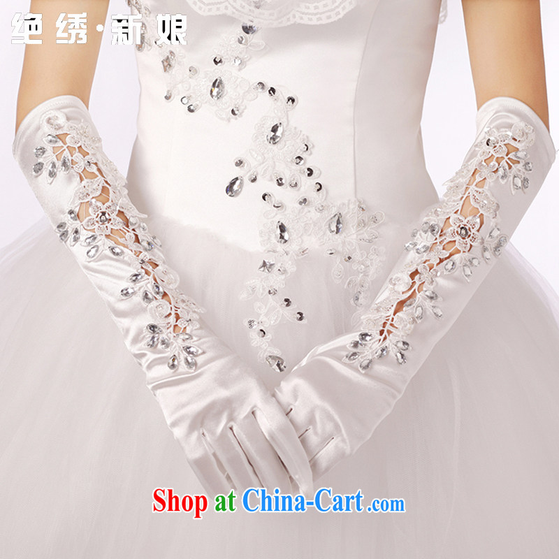 There is embroidery bridal winter marriage show photo building Photo Satin water drilling new lace long gloves white