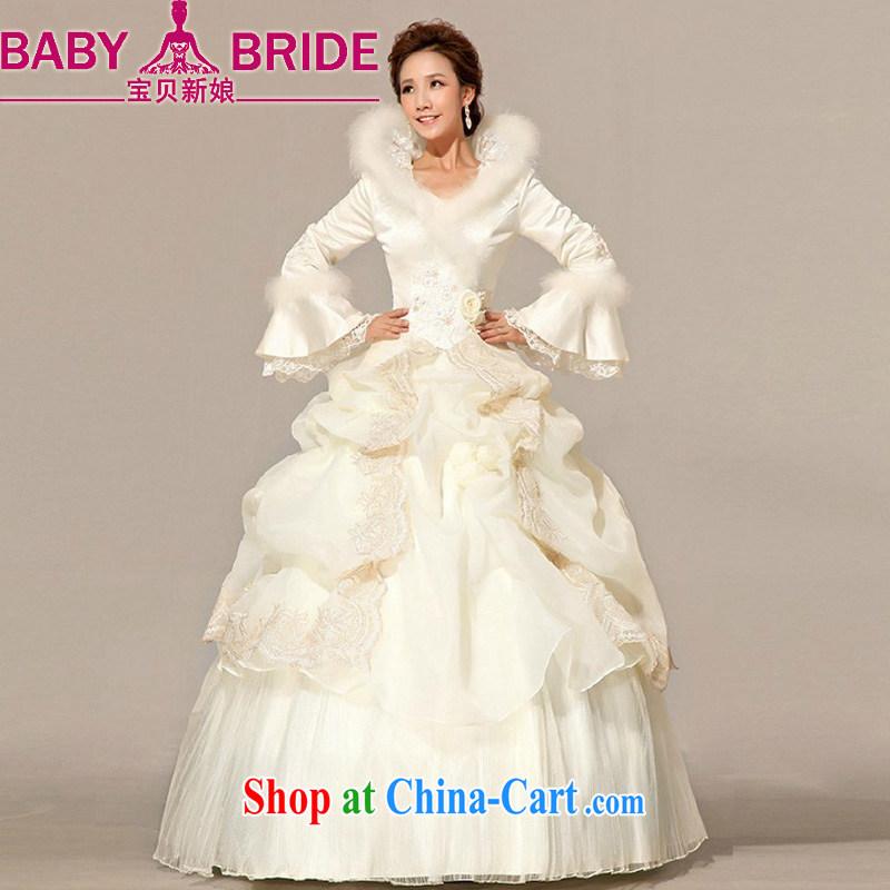Baby bridal winter wedding Princess bridal long-sleeved with wedding dresses 2014 new winter, cotton wedding Hong Kong fashionable color L