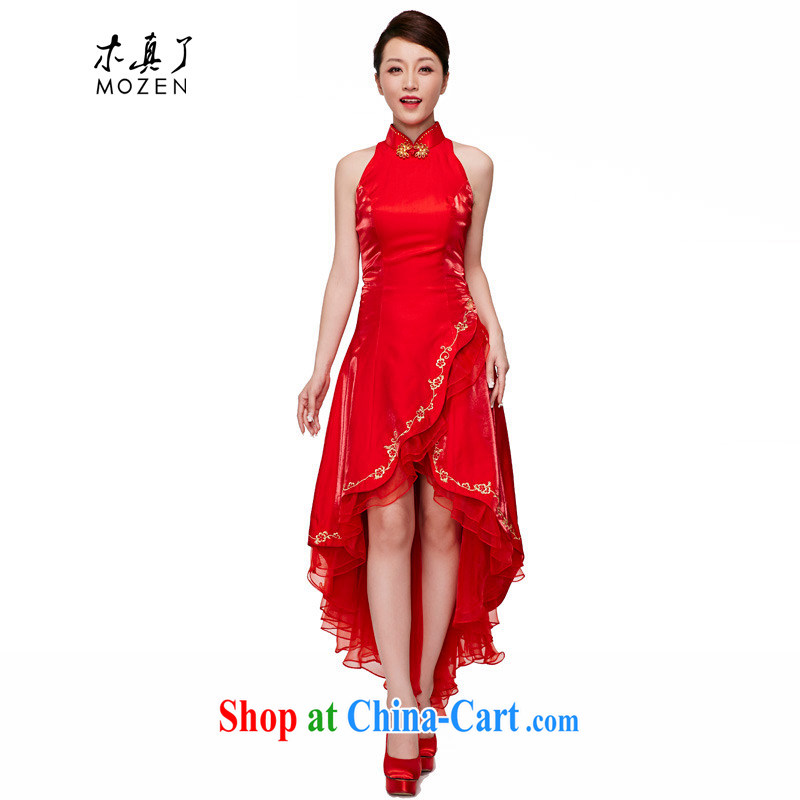 Wood is a qipao 2015 spring and summer new Chinese wedding tail dress elegant bridal long dresses 70,145 05 red XL