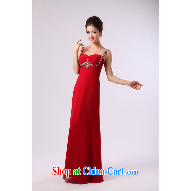 Elegant red strap Pearl nails, long, large bridal wedding dress toast service banquet dress red XXL