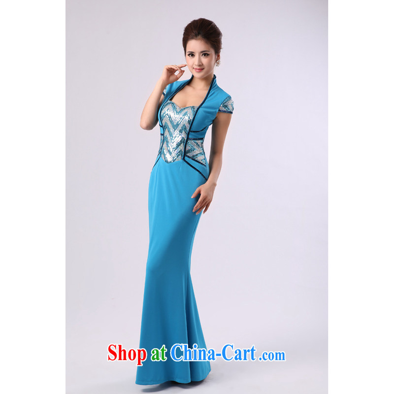 Long, elegant crowsfoot dress ethnic dance uniforms choral Service Command stage service blue custom