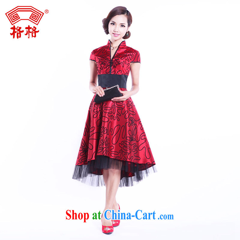Princess winter genuine lace floor is new, 2013 marriage toast lint-free flower wedding bridal improved red cheongsam red L