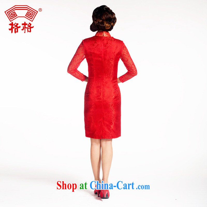 Princess dresses classic wedding wedding reception long-sleeved Chinese traditional sauna silk red with lace skirt red 3XL, giggling, and shopping on the Internet