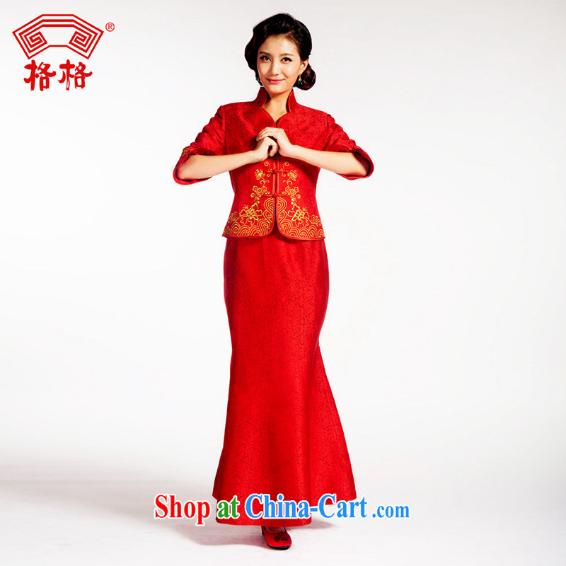 Princess cheongsam Chinese traditional wedding Montreal wedding flower embroidery really sauna silk bridal upscale dress red 3XL