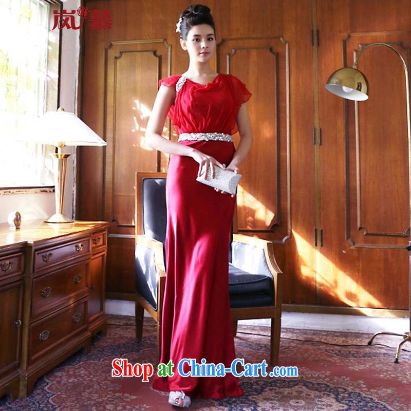 LAURELMARY sponsors the new dual-shoulder the shoulder pin Pearl bride dress new dress classy and stylish performances at night clothing such as the red made size