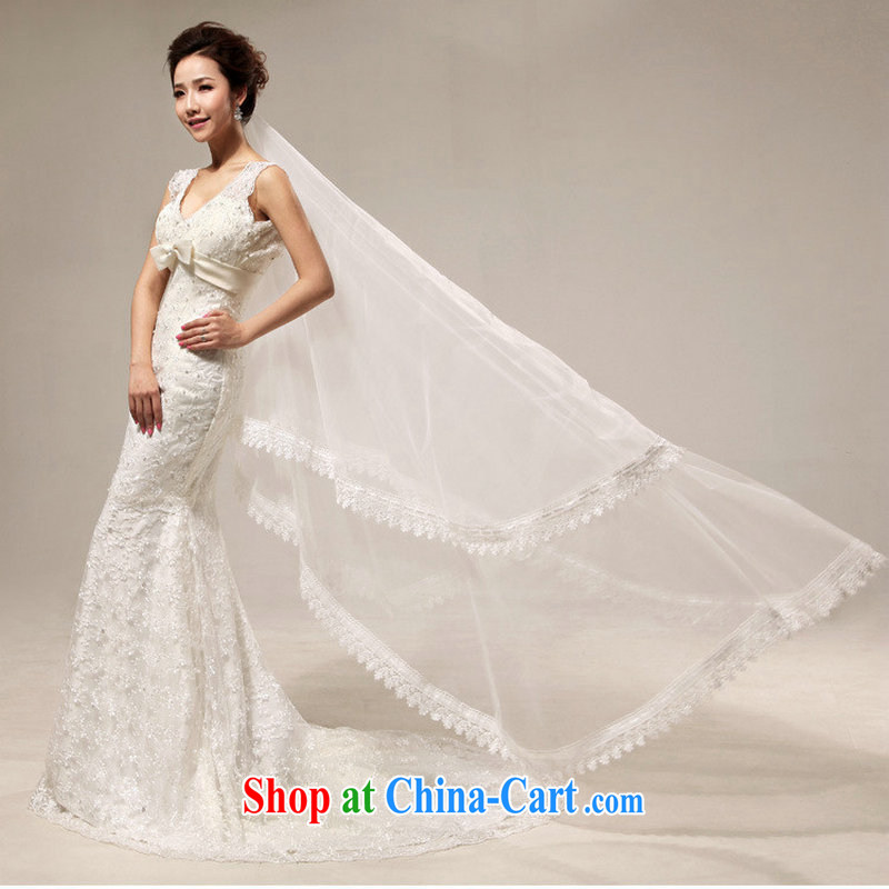 Optimize Hung-royal old fashioned sense V Deluxe lace beauty crowsfoot tail bridal wedding XS 7017 M white XXL