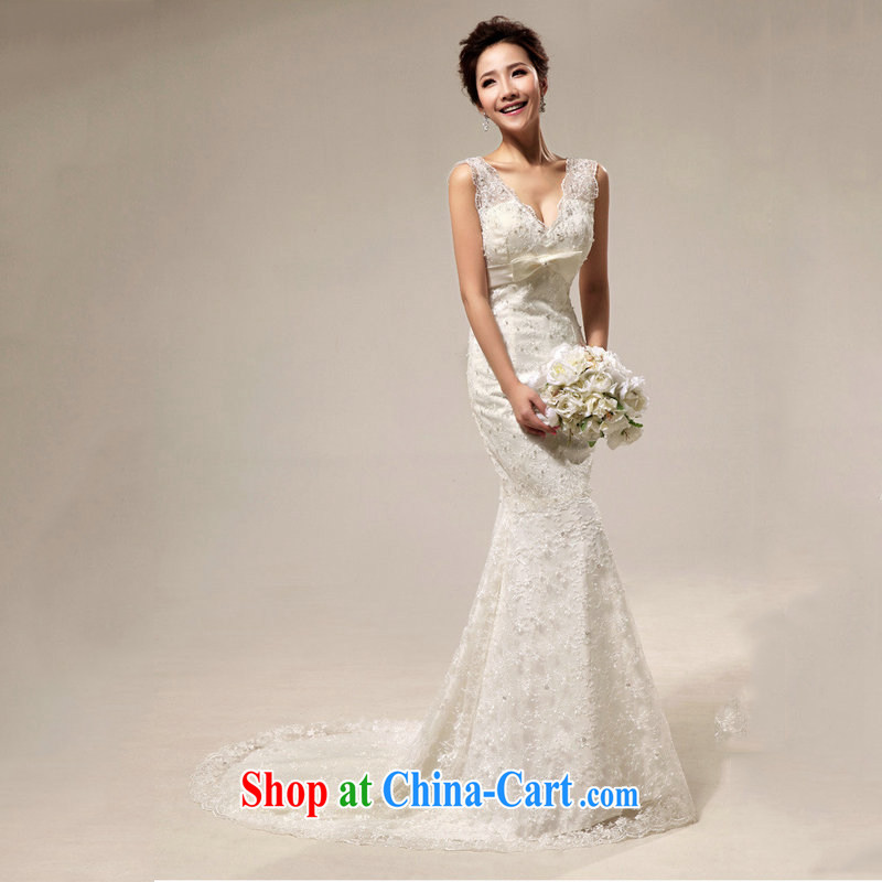 Optimize Philip Wong Yu-hong the royal old fashioned sense V Deluxe lace beauty crowsfoot tail bridal wedding XS 7017 M white XXL, optimize, and shopping on the Internet