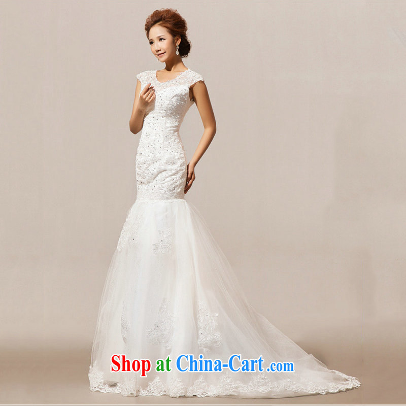 Optimize Hung-wedding dresses new 2014 luxury one shoulder lace-tail with Princess strap wedding XS 7018 m White S