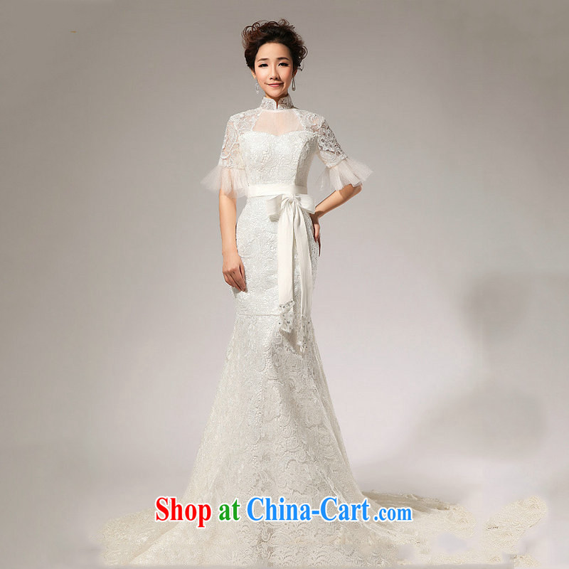 Optimize video new wedding dresses, sleeved lace crowsfoot wedding small trailing double-shoulder video thin bridal wedding XS 7022 m White M