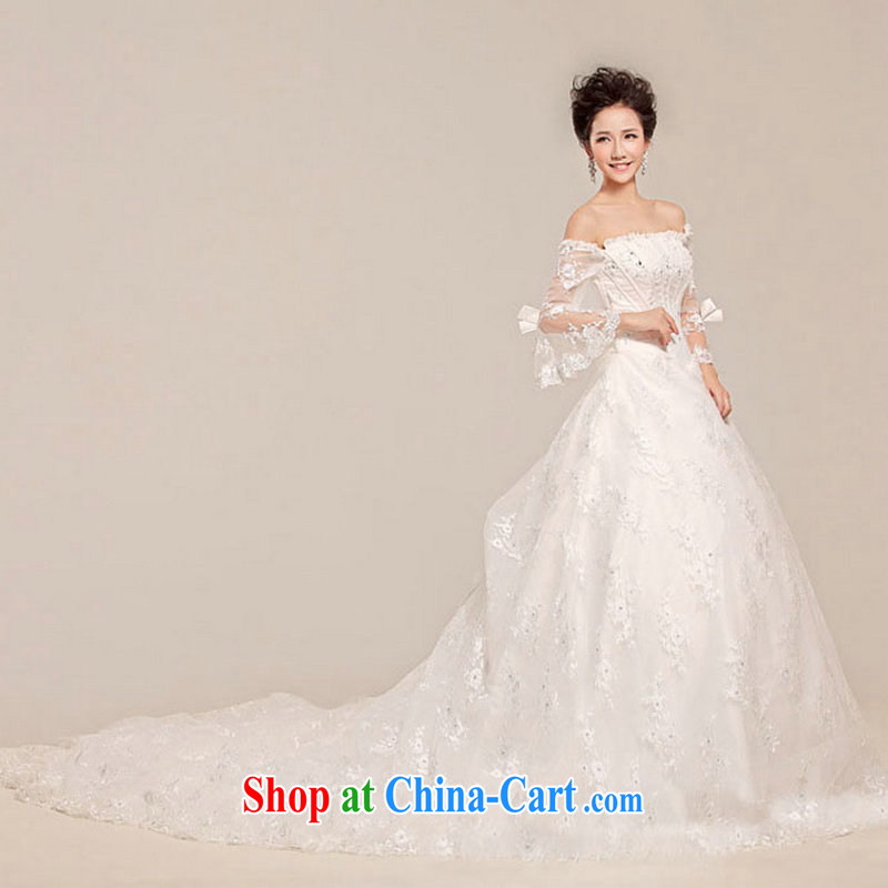 Optimize Hung-wedding-tail new stylish erase chest lace beauty shaggy skirts long-tail XS 7028 white XXL