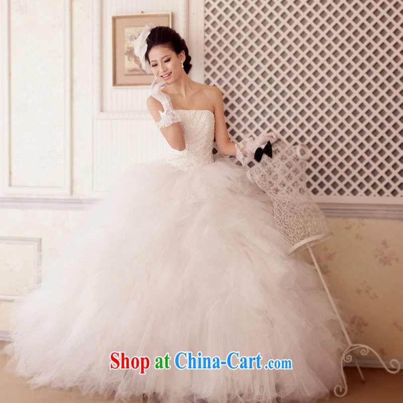 Optimize video bride married Yi Deluxe dress skirt banquet dress wiped chest graphics thin large shaggy dress XS 7038 M white XXL