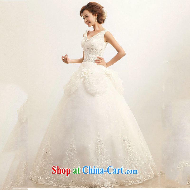 Optimize video wedding dresses 2015 new autumn and winter shoulders with a shoulder stylish graphics thin lace wedding white XS 7041 M white XXL