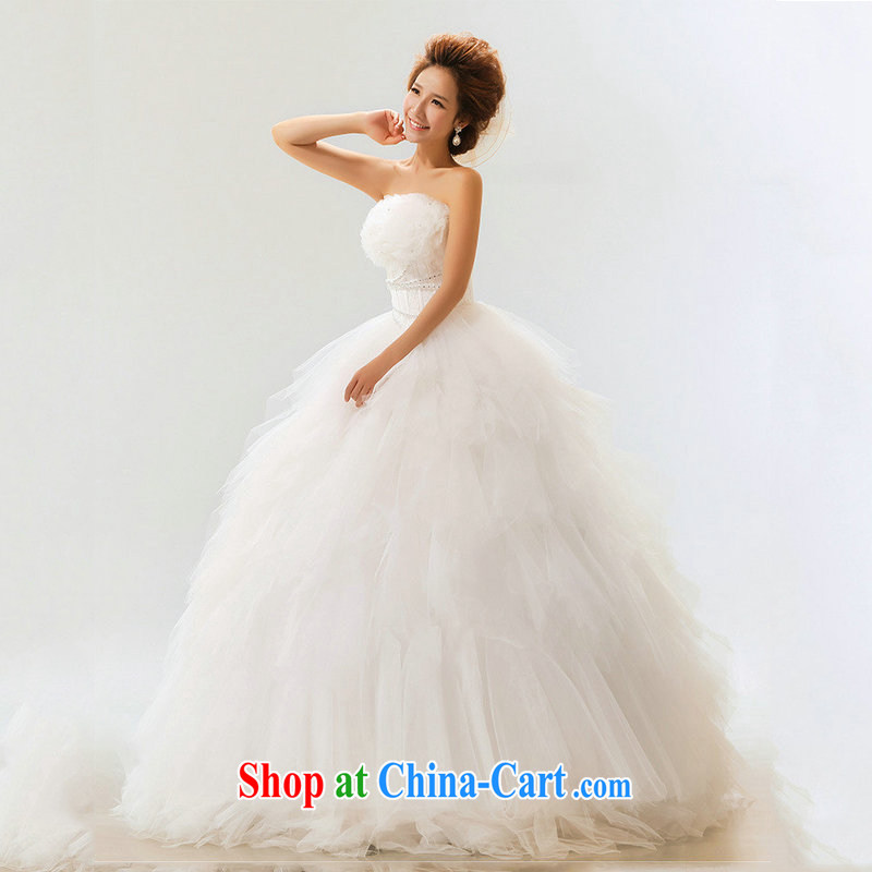 Optimize Hong 2014 exclusive wedding Korean Princess bride wedding sweet marriage wedding Mary Magdalene XS chest 7089 m White XXL
