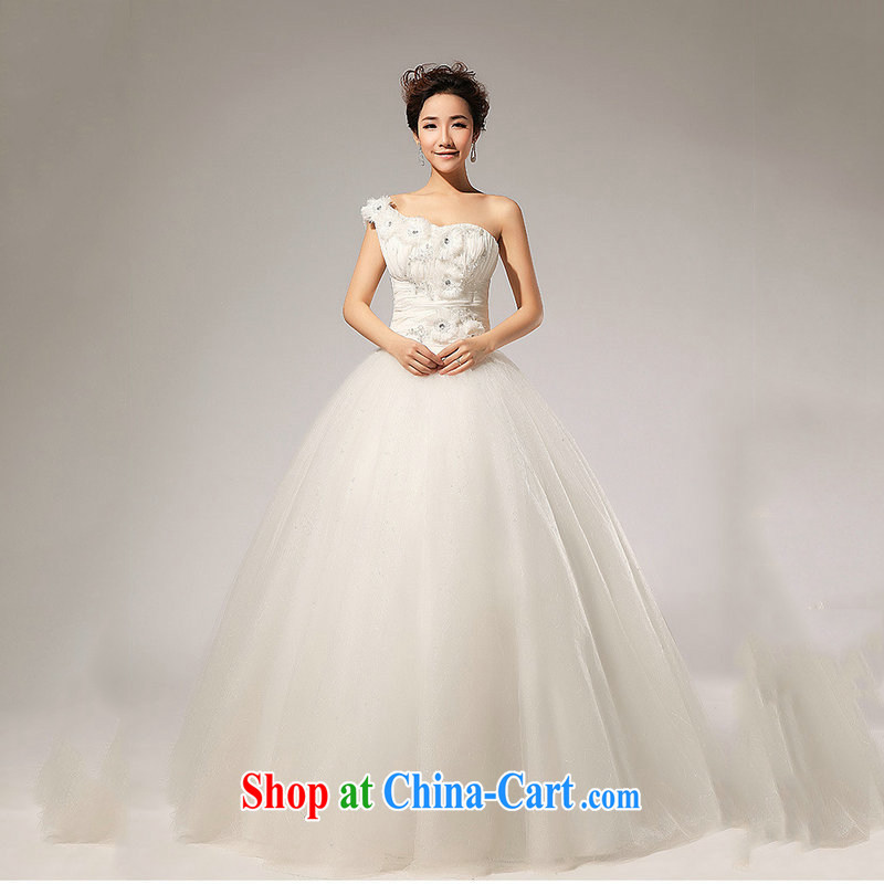 Optimize Hung-new single shoulder strap manually take Korean wedding dresses XS 7169 m White S