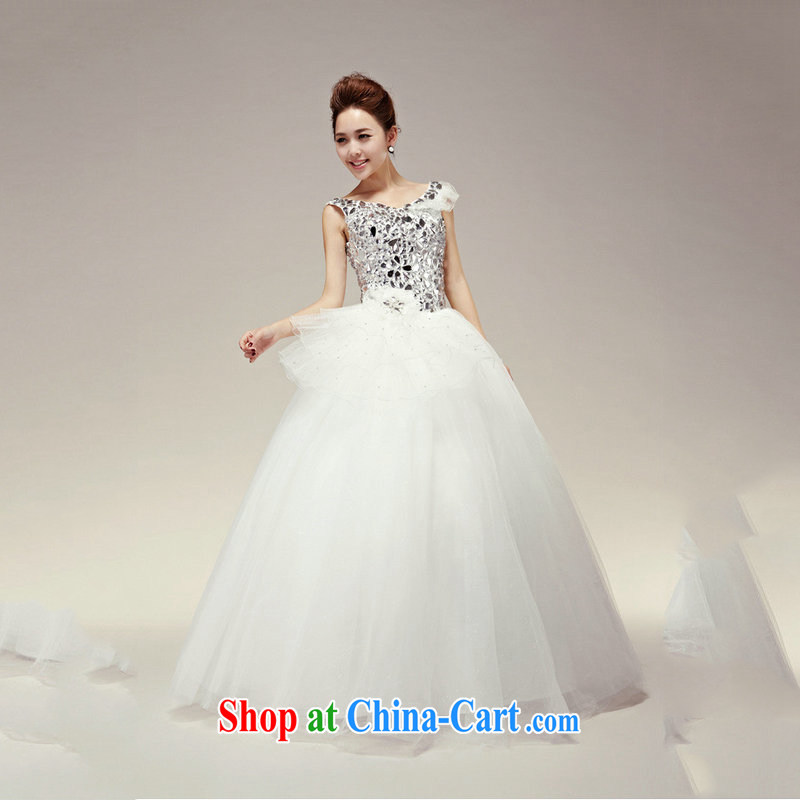 Optimize Hung-wedding dresses 2014 new sweet shoulders V collar wedding water drilling on drilling bridal wedding with wedding dresses XS 7167 m White XXL