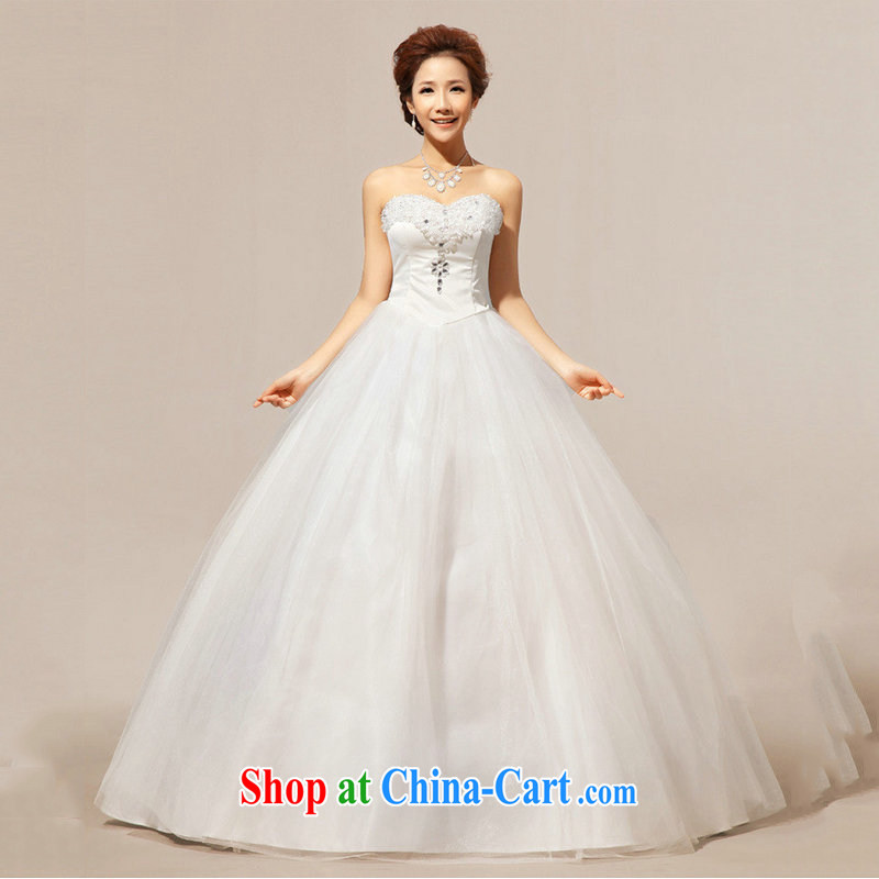 Optimize video Bridal Fashion wedding dresses bare chest graphics thin larger Korean lace Princess wedding XS 7164 m White XXL