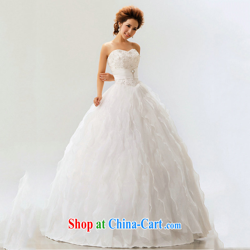 Optimize Hung-wedding dresses 2014 new lace straps Princess shaggy dress with sweet marriages XS 7111 m White M