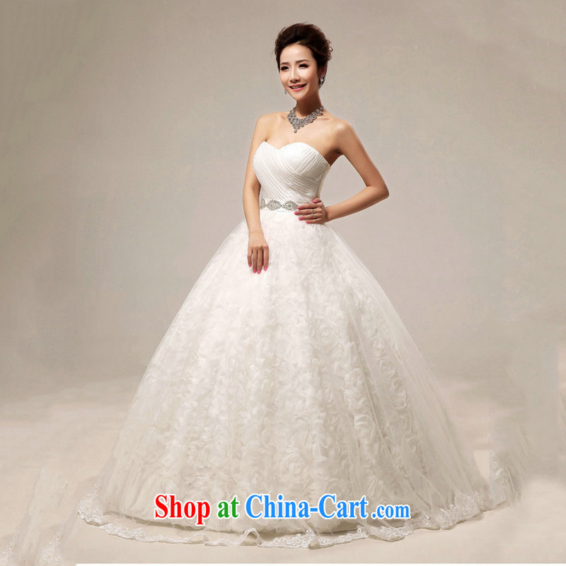 Optimize video 2015 summer Korean sweet shaggy wedding dresses package shoulder lace with wedding XS 7105 m White S