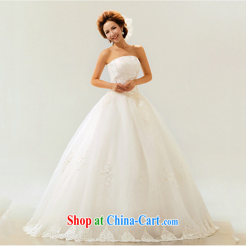 Optimize Hung-wedding dresses new 2014 spring and summer fashion marriages Korean wiped his chest strap with wood drill large code female XS 7086 m White S