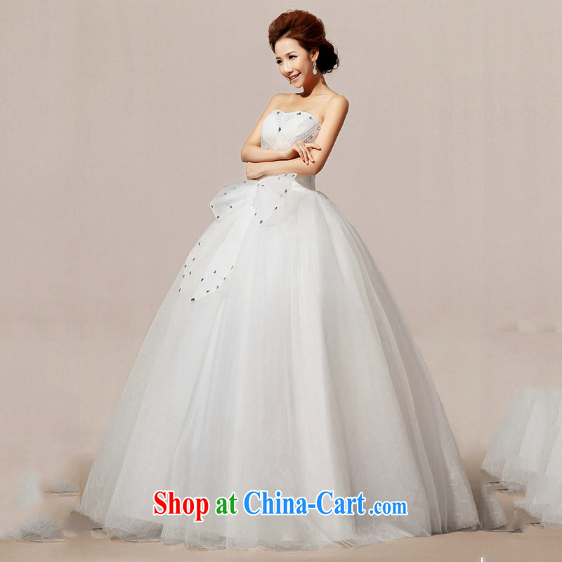 Optimize Hung-wedding dresses 2014 parquet drill Korean sweet Princess with bare chest spring wedding XS 7075 m White S