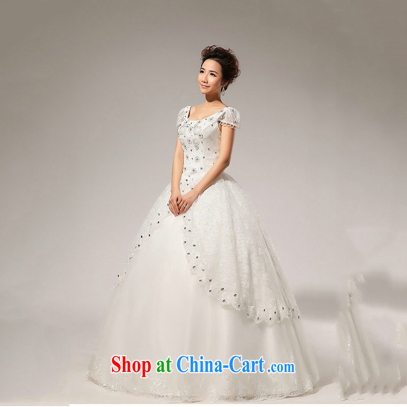 Optimize video 2013 new fashion Princess bubble cuff shaggy bridal parquet drill wedding dresses XS 7078 m White M