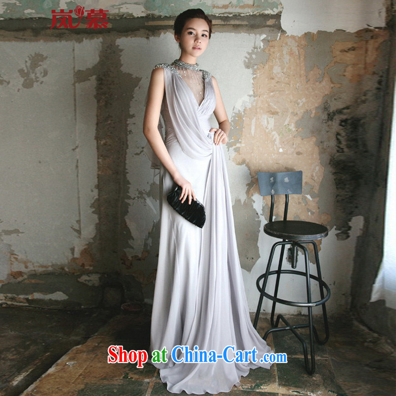 LAURELMARY sponsors the 2015 new Korean style wood drill long ball dress toast annual service dress such as the color blue-gray Custom size _please contact Customer Service_