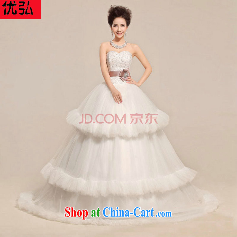 Optimize Hong 2013 new heart-shaped smears chest flower waist wave skirts wedding dresses XS 7081 white XXL