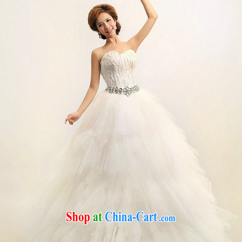 Optimize Hung-New 2013 Korean feather wiped chest Princess marriages wedding dresses XS 7080 m White XXL