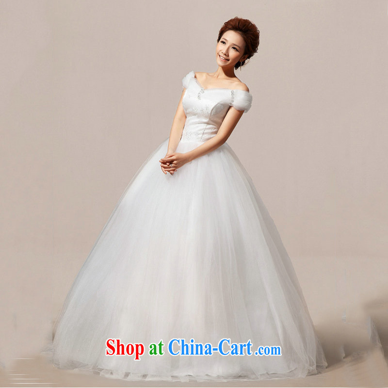 Optimize Hong-Xia new Korean double-shoulder with marriages graphics thin the Field shoulder wedding canopy skirts female XS 7085 m White XXL