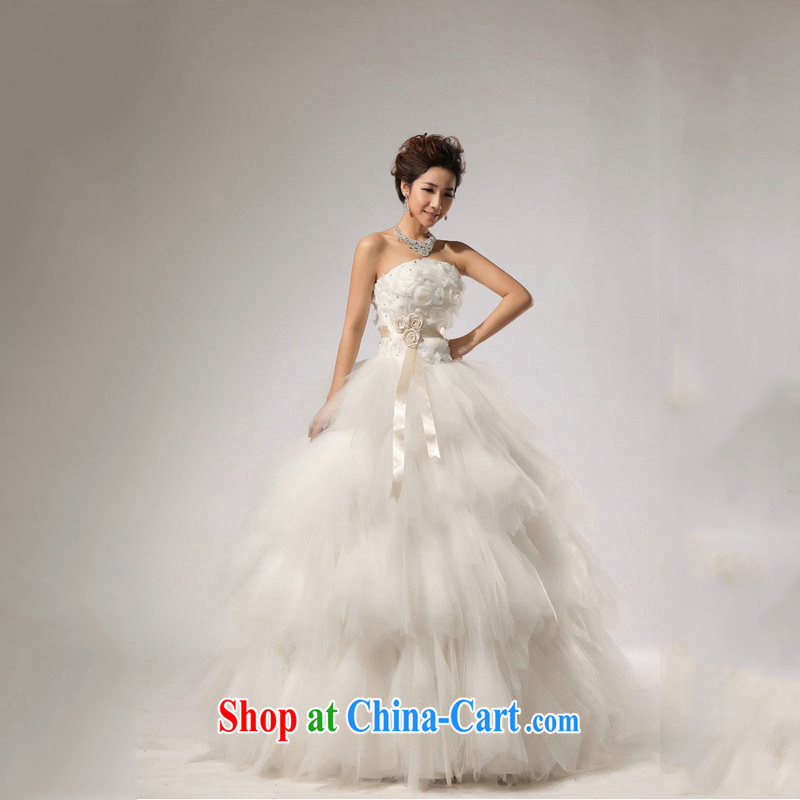 Optimize Hung-wedding dresses new 2014 spring and summer fashion marriages Korean wiped his chest strap with wood drill large code female XS 7087 m White XXL