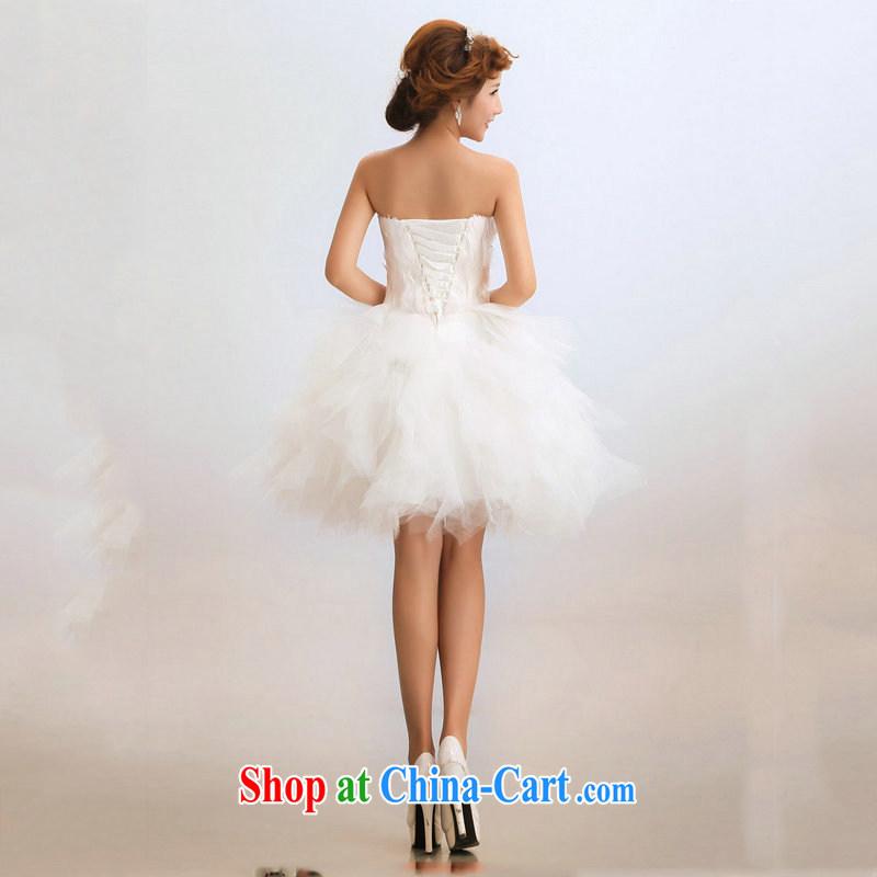Optimize video bridesmaid dress short wedding dresses the bride toast wedding clothes dress Princess bridesmaid XS service 7146 m White XXL