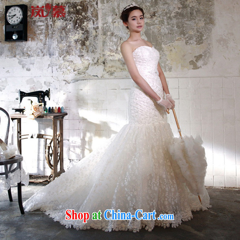 LAURELMARY sponsors the 2015 new crowsfoot cultivating the pockets and full lace small tail wedding ivory Custom size _please contact Customer Service_