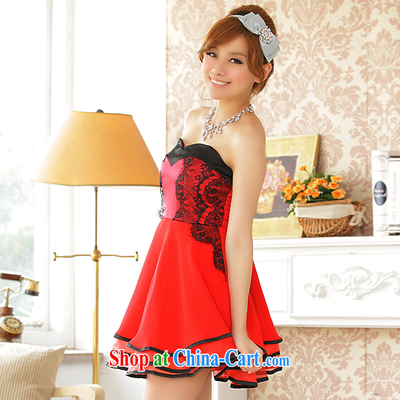 Lively atmosphere large ring side cake Princess last chest dress dresses (the invisible) red XXXL